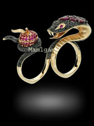 Natural Rosecut Diamond Ruby 925 Sterling Silver Snake Poison Ring Sz 8 Jewelry