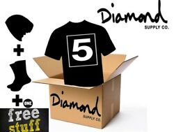 New Diamond Supply Co. Assorted Box Mens Five T Shirts One Pair Sock One Beanie