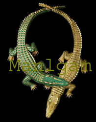 Natural Emerald Citrine Vintage Crocodile 925 Silver Wedding Necklace Jewelry