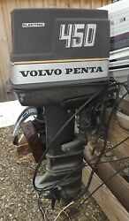 1970and039s Volvo Penta 450 45 Hp Outboard Motor Complete 20 Shaft For Parts