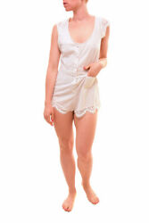 For Love & Lemons Womens Emmy Striped Pajama Romper Ivory Size S