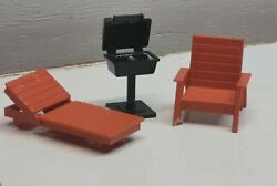Vintage 'outdoor' Dollhouse Furniture And Bbq Grill F-p Toys, Mattel D9