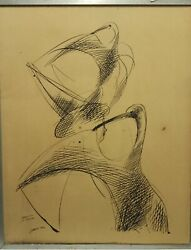 S.greco Artist Pen On Board Painting Birds Drawing Art Private Collection Rare