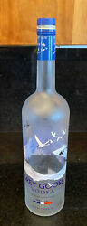 """17"""" Grey Goose Vodka Bottle Frosted Glass Absolut Display Cork 1.75 Liters Empty"""