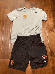 Usc Trojans Nike Football Shirt Shorts Xl Large Team Issued 99 Conditioning