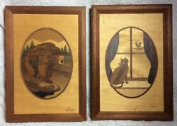 Set Of 2 Hudson River Wood Inlay Art Marquetry Cat And Bear Signed Nelson