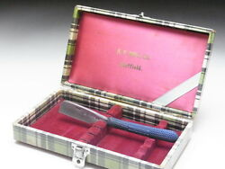 Very Rare Antique Box For Straight Razors Used At A Barber Shop In Japanf-132