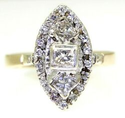 Art Deco 1.50ct Diamond Navette Cluster 18ct Yellow Gold Ring Size R 8 3/4