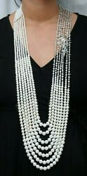 925 Sterling Silver Seven String Cultured Pearl Handmade Necklace Party Wear