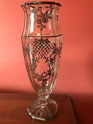 Crystal Cambridge Sterling Vase 13 Tall Very Hard Shape To Find