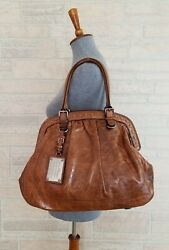 Dolce And Gabbana Miss Romantique Distressed Leather Luggage Tan Color Bag