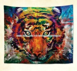 dorm room wall art colorful tiger animal wall hanging tapestry