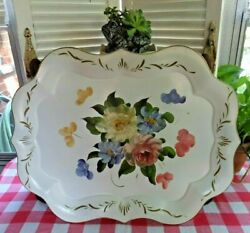 Vintage Cottage Garden Chic Hand Painted White Pink Blue Floral Metal Tole Tray