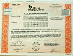 Texas Instruments Semiconductor Tech Company Stock Certificate