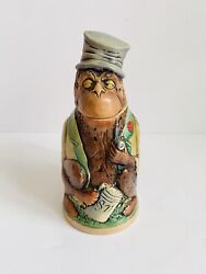 Figural Monkey Beer Stein Golden Crown Eandr West Germany Collectible