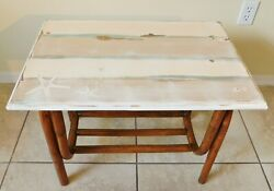 Hand Painted Coastal Seashell Natural Rattan Side/end Accent Table Magazine Rack