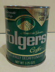 Unopened Folgers 3.25oz Decaffeinated Coffee Tin Can Trial Size