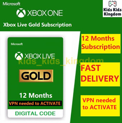 Xbox Live Gold 12 Month Membership - Xbox One 360 Vpn Required