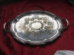 Top Quality Large Silver Plate Serving Tray A Plate Jd And Co 22andrdquo Wide 1.9kg