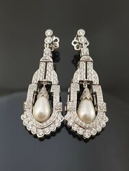 Art Deco Style 925 Sterling Silver Cultured Pearl Drop Earrings For Women Party