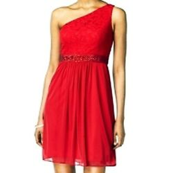 Adrianna Papell New One Shoulder Red Embellished Lace Cocktail Dress Size 14 $25.20