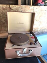 Vintage Sears Silvertone Model 246 Record Player And Matching 45 Case