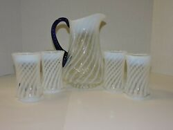 Fenton 80th Anniversary Spiral Optic Blue Ridge Pitcher And 4 Tumblers With Coba