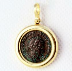 Ancient Roman Bronze Constantine I Coin In 14kt Gold Pendant A.d. 307-337