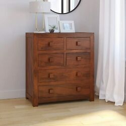 Solid Wood Chest Of 6 Drawers Antique Vintage Home Office Furniture