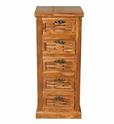 Wood Chest Of 5 Drawers Antique Vintage Home Office Furniture Decor Showpiece