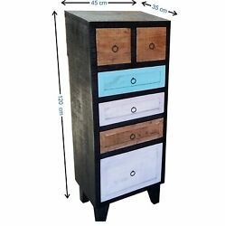 Wood Chest Of 6 Drawers Antique Vintage Home Office Furniture Decor