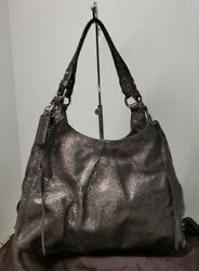 Coach Maggie Crinkle Silver/charcoal Gray Python Satchel Purse 13898 W/dustbag