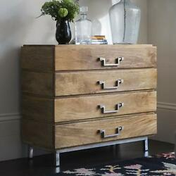 Wood Chest Of 4 Drawers Antique Vintage Home Office Furniture Decor