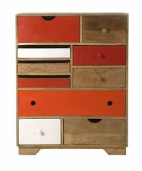 Wood Chest Of 10 Drawers Antique Vintage Home Office Furniture Decor