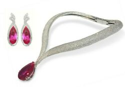 100ct Pink Pear 925 Sterling Silver Statement Necklace And Earrings All Studded