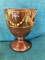 Antiques, Pottery, Chalice, Copper Luster, Hand Painted, 1800-1859, England