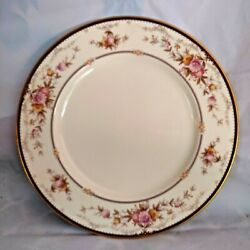 Noritake Brently 10 1/2 Dinner Plate Pink/blue Floral Green/tan Bands