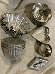 Vintage Small Cake Jello Mold Baking Tins And Cookie And Doughnut Molds 12-pcs