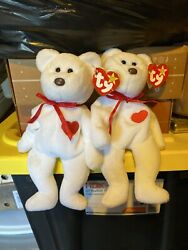 """2 Ty Beanie Baby """"valentino"""" Bear 1994 Rare With Brown Nose Many Tag Errors"""
