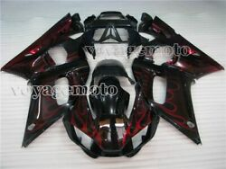 Red Flame Black Injection Fairing Body Kit Fit For Yamaha Yzf R6 1998-2002 Q09