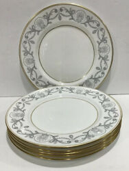 """6 Paragon By Appointment Fine China 10.5"""" Dinner Plates White Silver Gold Trim"""