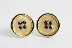 18k Yellow Gold And Sapphire Button Cuff Links 26.4g