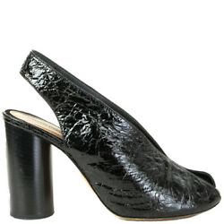61437 Auth Isabel Marant Black Cracked Leather Meirid Sandals Shoes 38