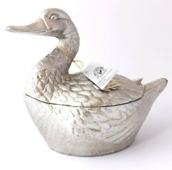 Vintage Silver Plate Duck Ice Bucket By Mauro Manetti Italian Design C1960