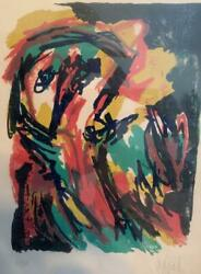Karel Appel Pencil Signed Limited Edition Lithograph 1961 Face Nice