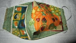 Pumpkin Patch Design Handmade Fabric Mask Washable Face Cover Pocket $7.80