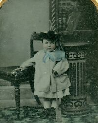 Victorian Toddler Child With Toy Shovel Antique Vintage Ambrotype Photo