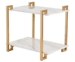 Arteriors Clio Side Table Brass Marble White Ds9008 5100 Msrp Brand New In Box