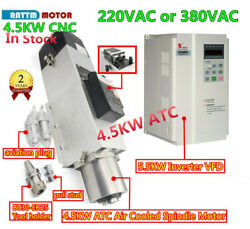4.5kw Bt30 Atc Automatic Tool Change Air Spindle Motor 220/380v W 5.5kw Inverter