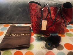 Nwt Andldquogiaandrdquo Python Leather And Suede Tote Bag Purse 1795 -crimson Red